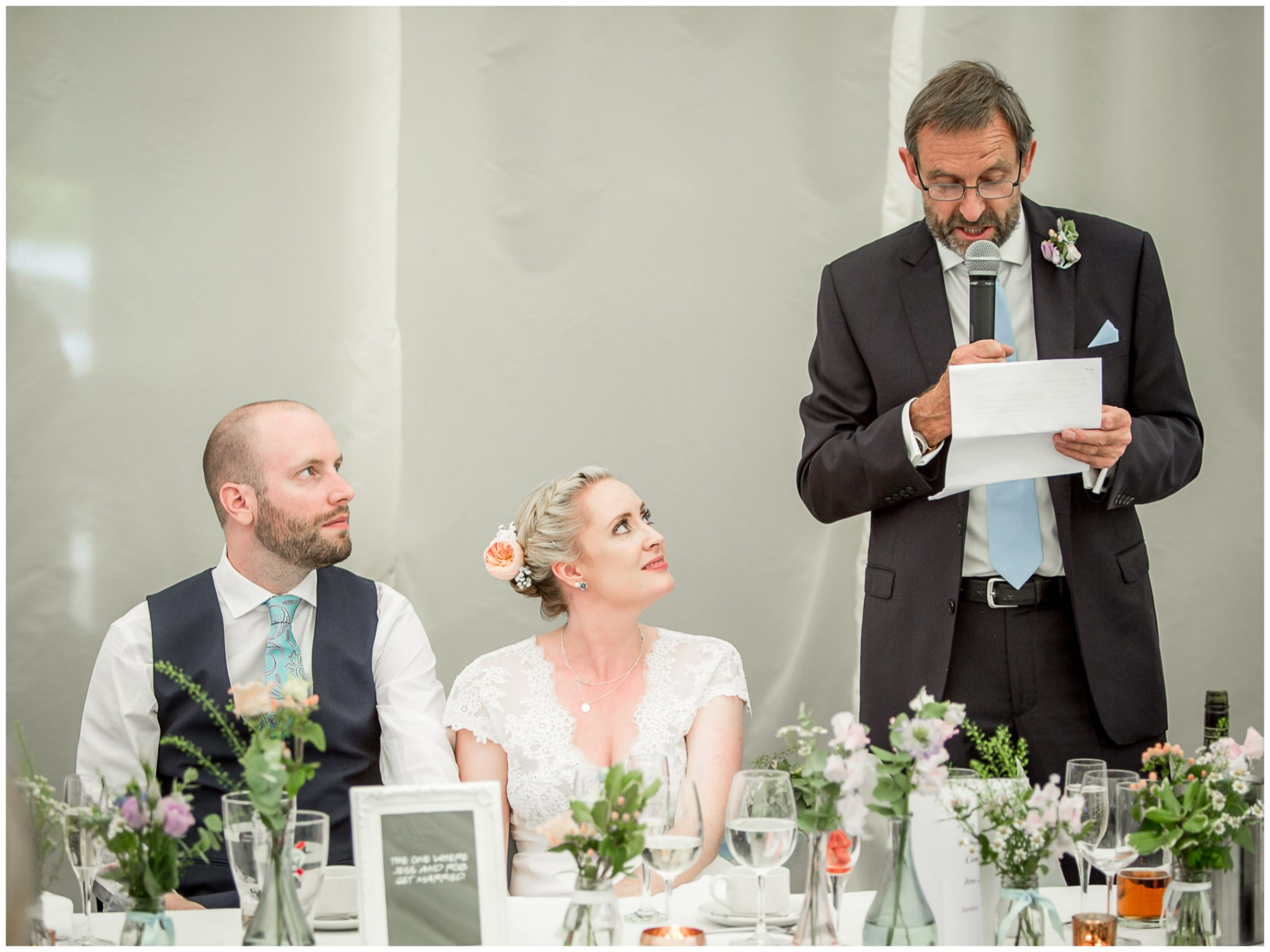 Oakley Hall wedding photography bride watches father's speech