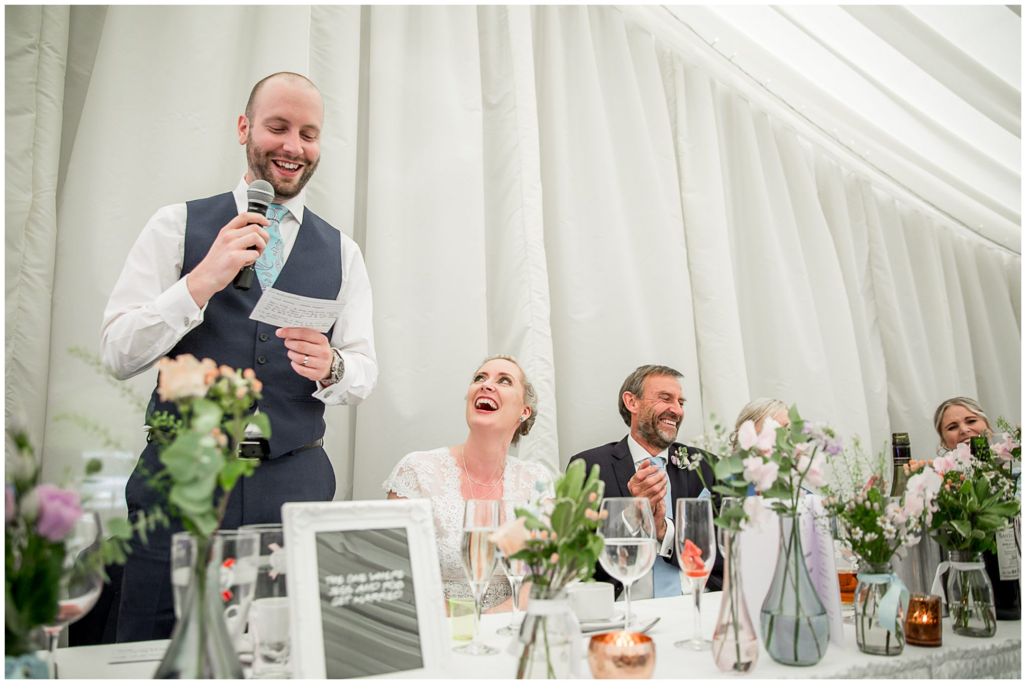 Oakley Hall wedding photography bride reaction to groom's speech