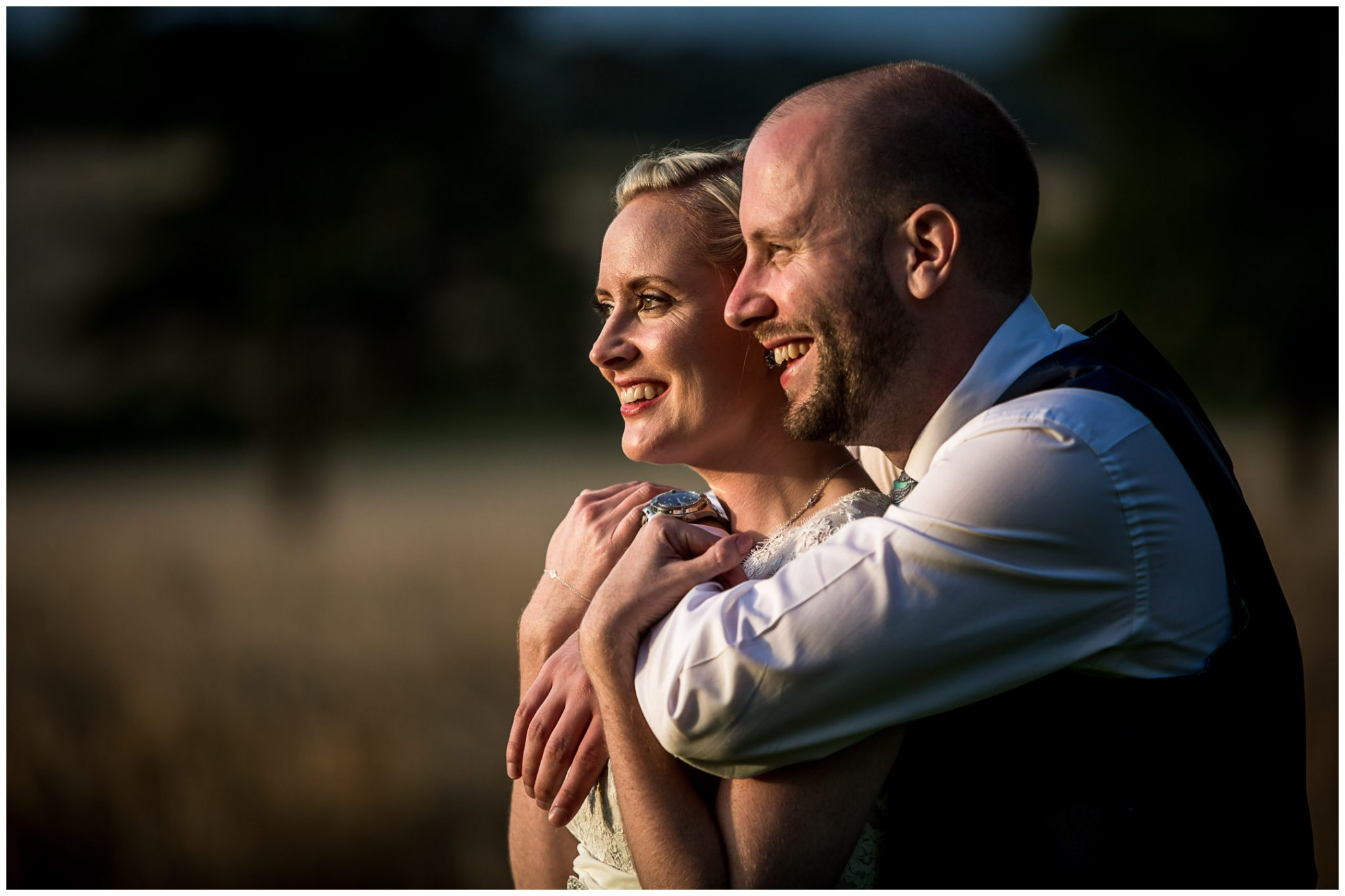 Oakley Hall wedding photography couple portrait in evening light