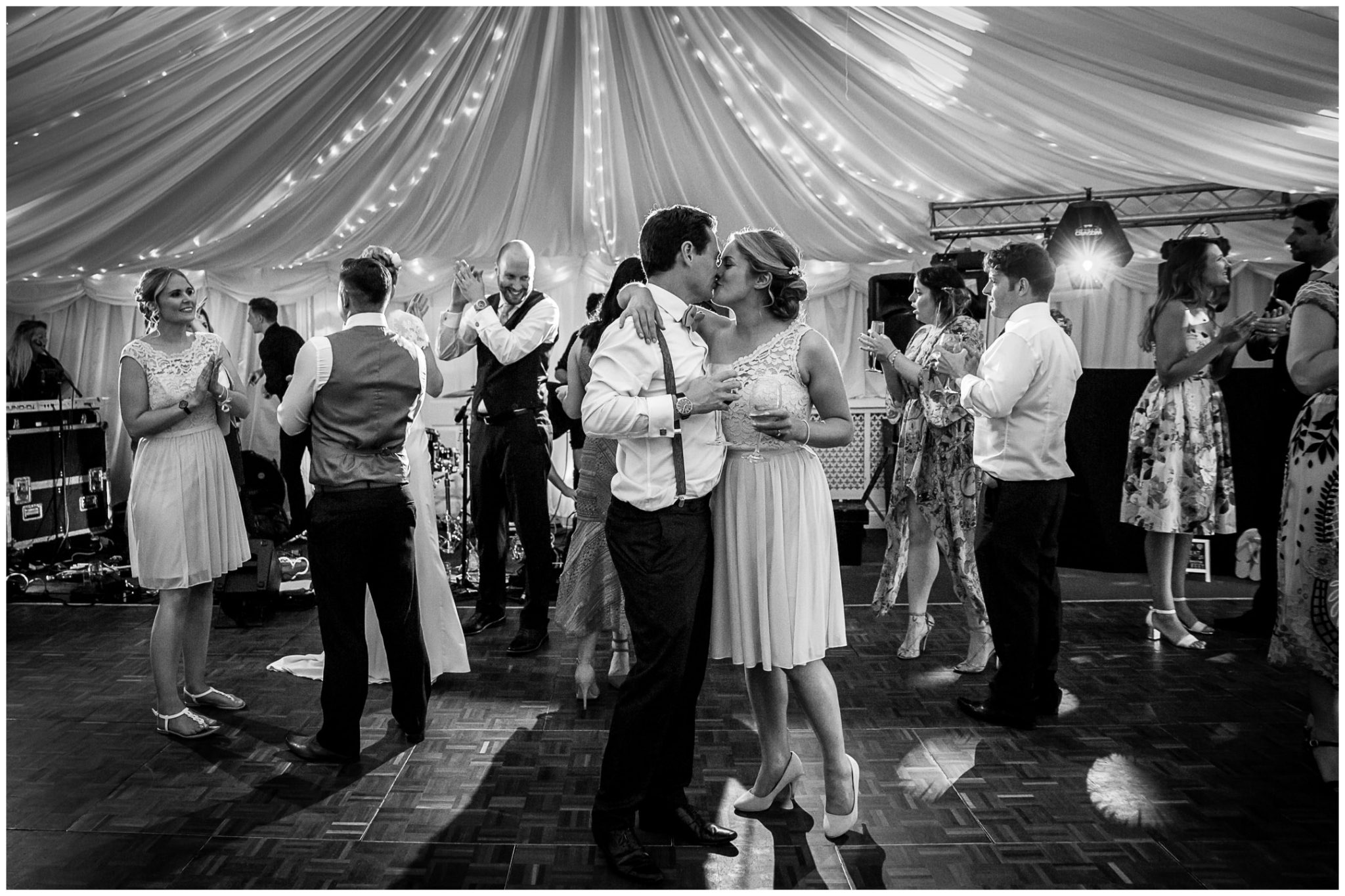 Oakley Hall wedding photography guests on dancefloor