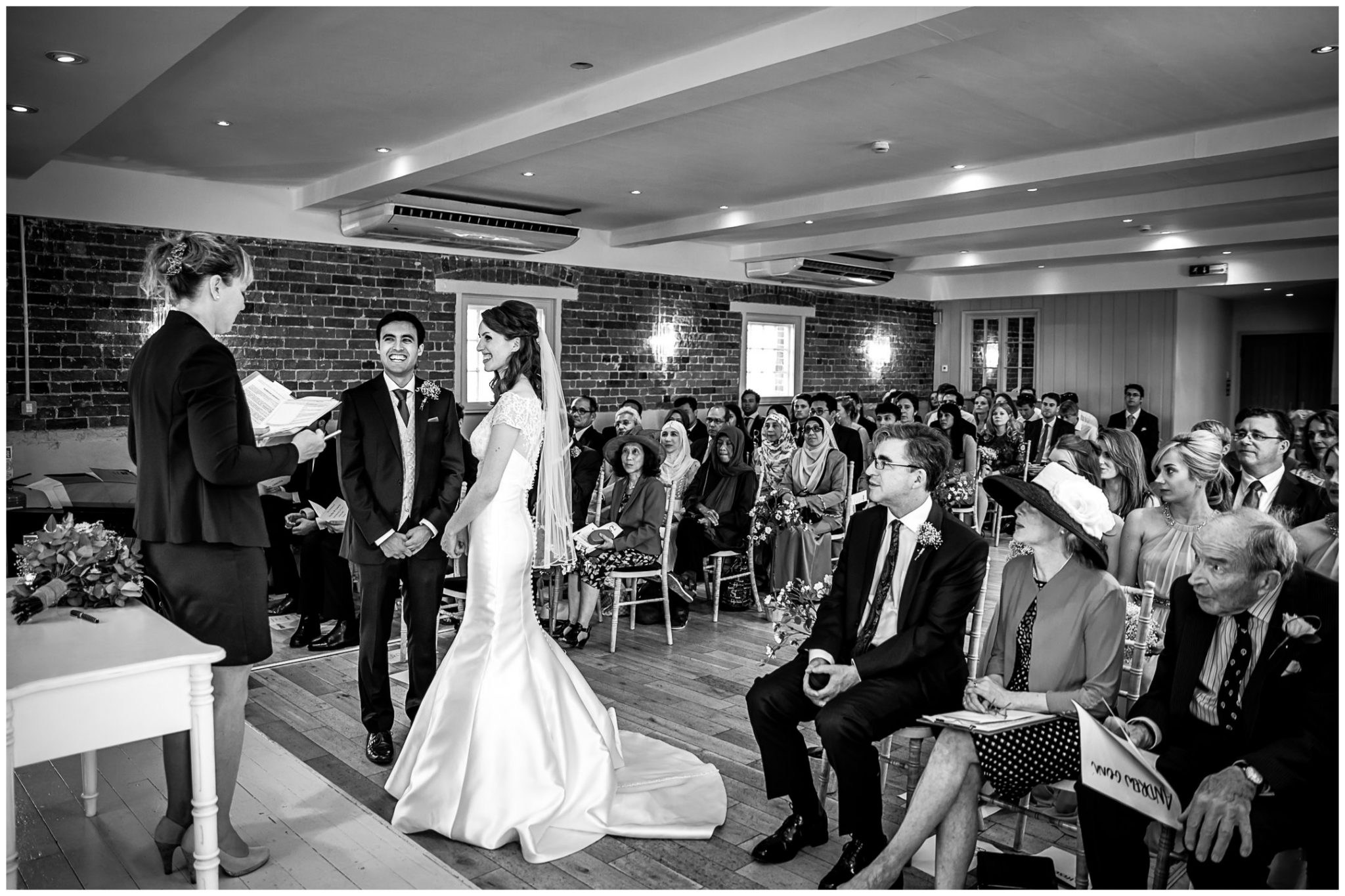 Sopley Mill Summer wedding couple at start of marriage ceremony