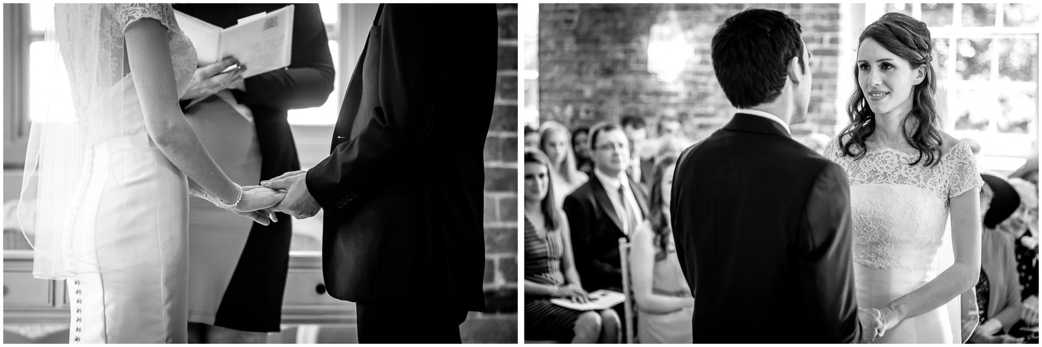 Sopley Mill Summer wedding couple holding hands black and white photo