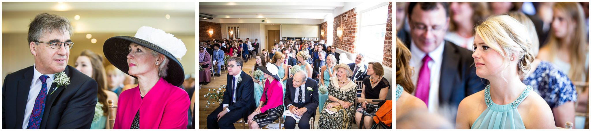 Sopley Mill Summer wedding guests watch signing of register