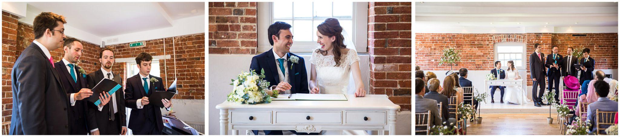 Sopley Mill Summer wedding signing of the register