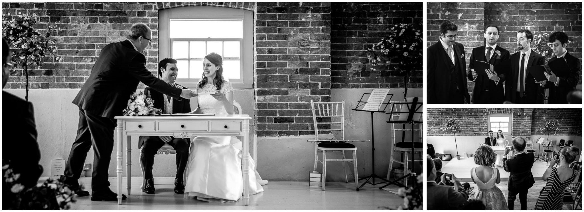 Sopley Mill Summer wedding bride receives marriage certificate