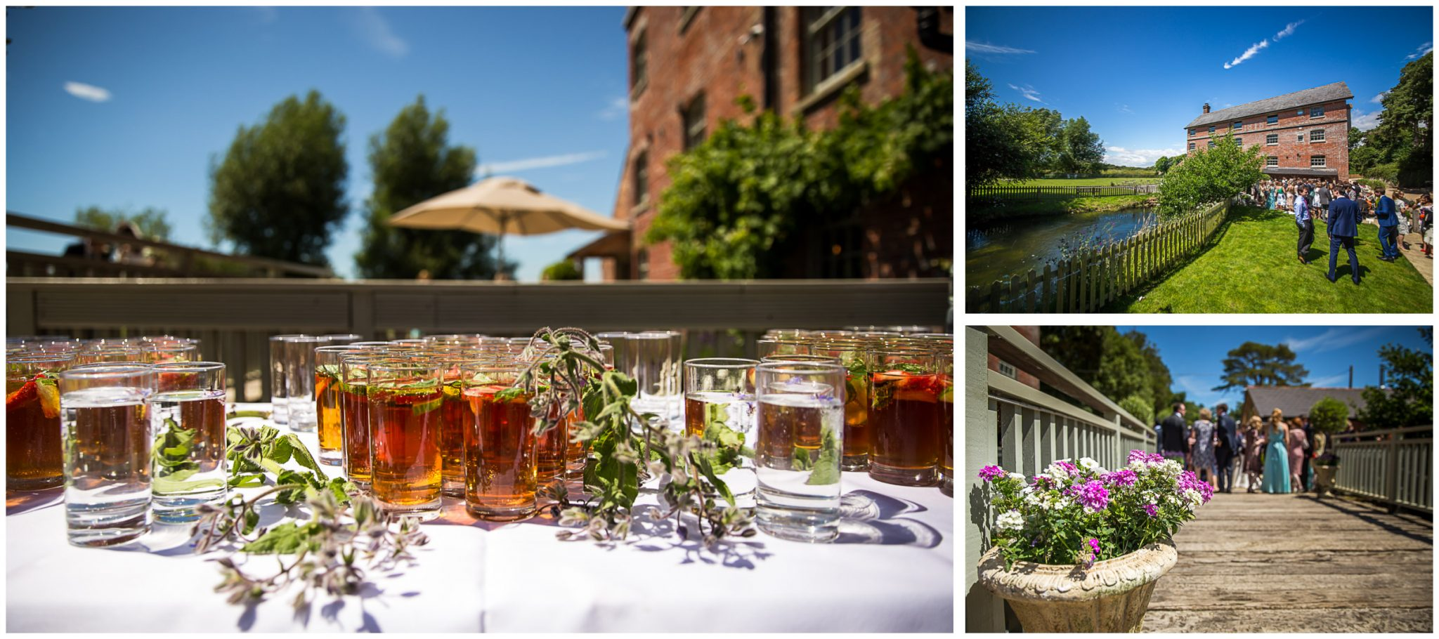 Sopley Mill Summer wedding drinks and canapes on the terrace