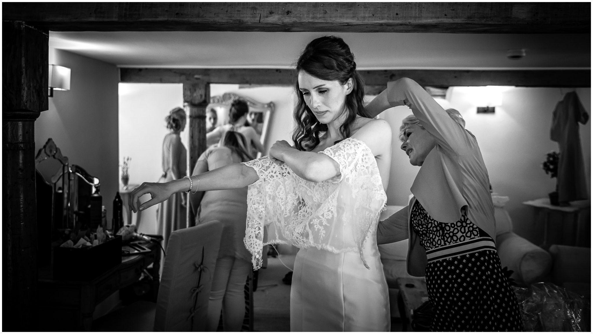 Sopley Mill Summer wedding bride getting dressed
