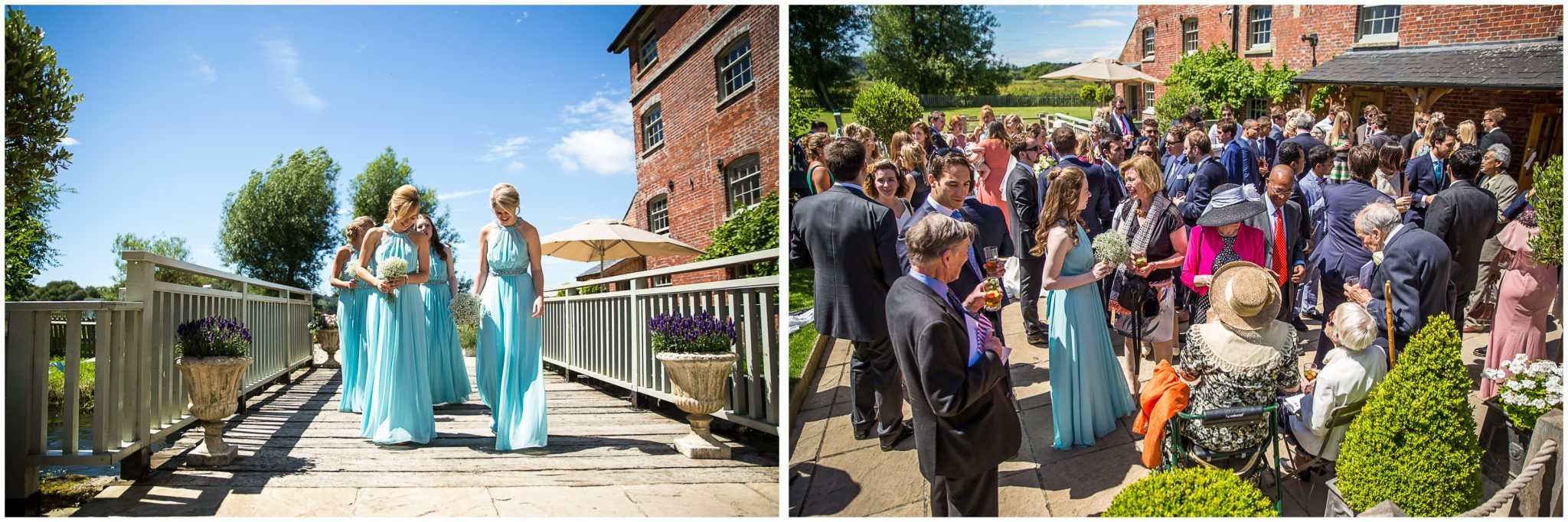 Sopley Mill Summer wedding guests outside after ceremony