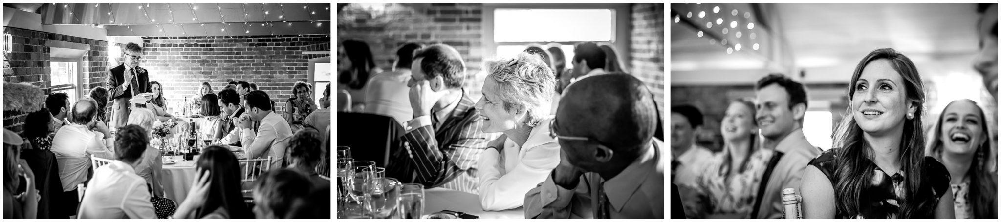 Sopley Mill Summer wedding guests watch speeches