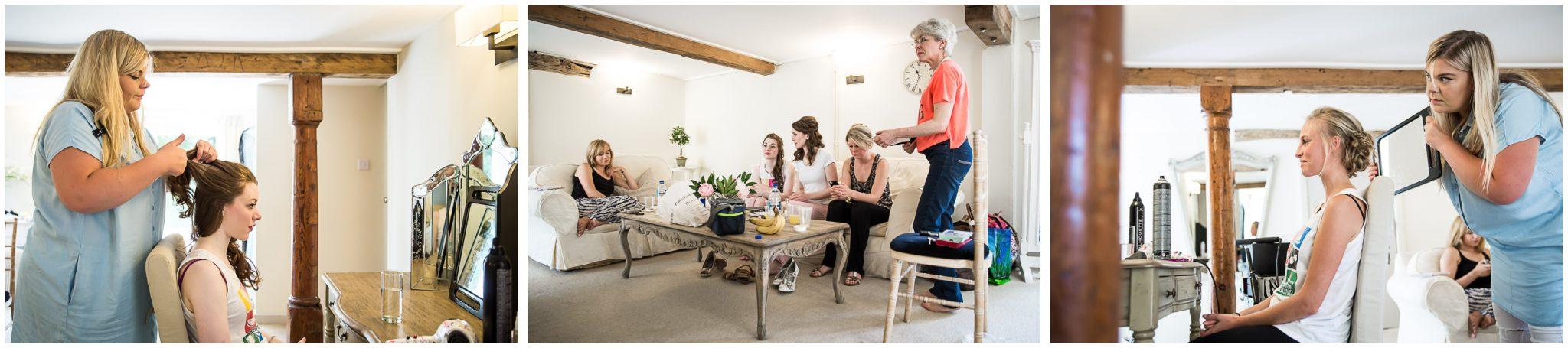 Sopley Mill Summer wedding bridesmaids getting ready in Avon Suite