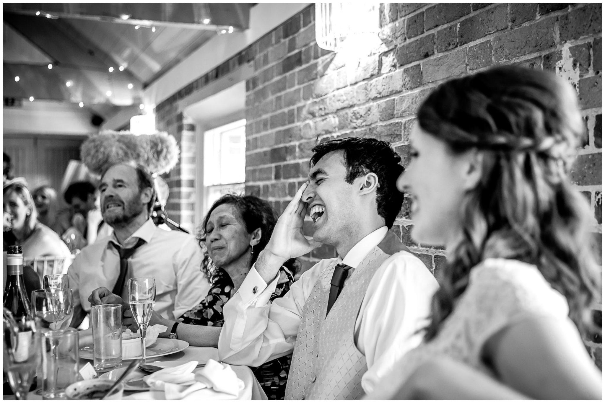 Sopley Mill Summer wedding groom laughter during speech