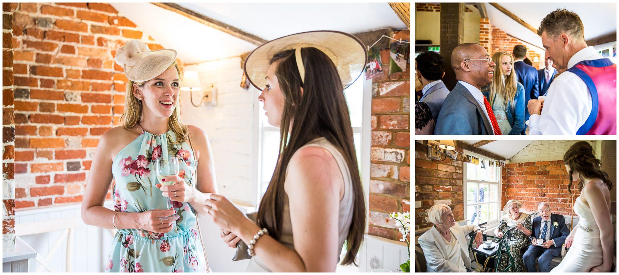 Sopley Mill Summer wedding inside the mill, in the boat room