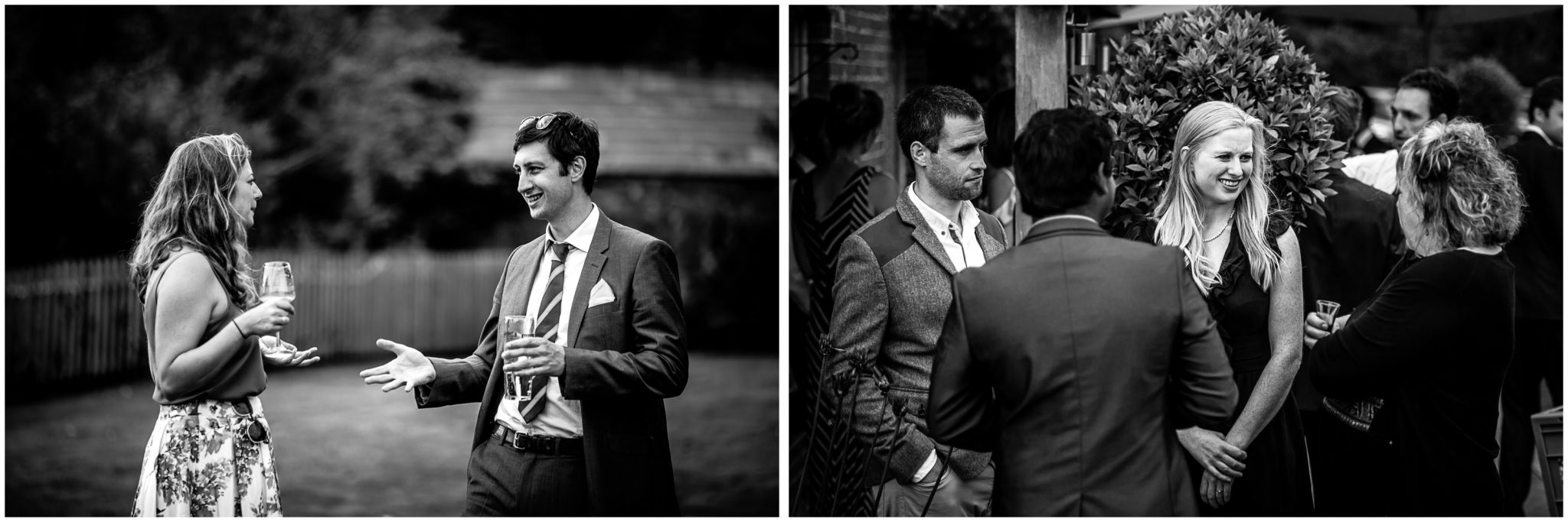 Sopley Mill Summer wedding black and white documentary photos of guests