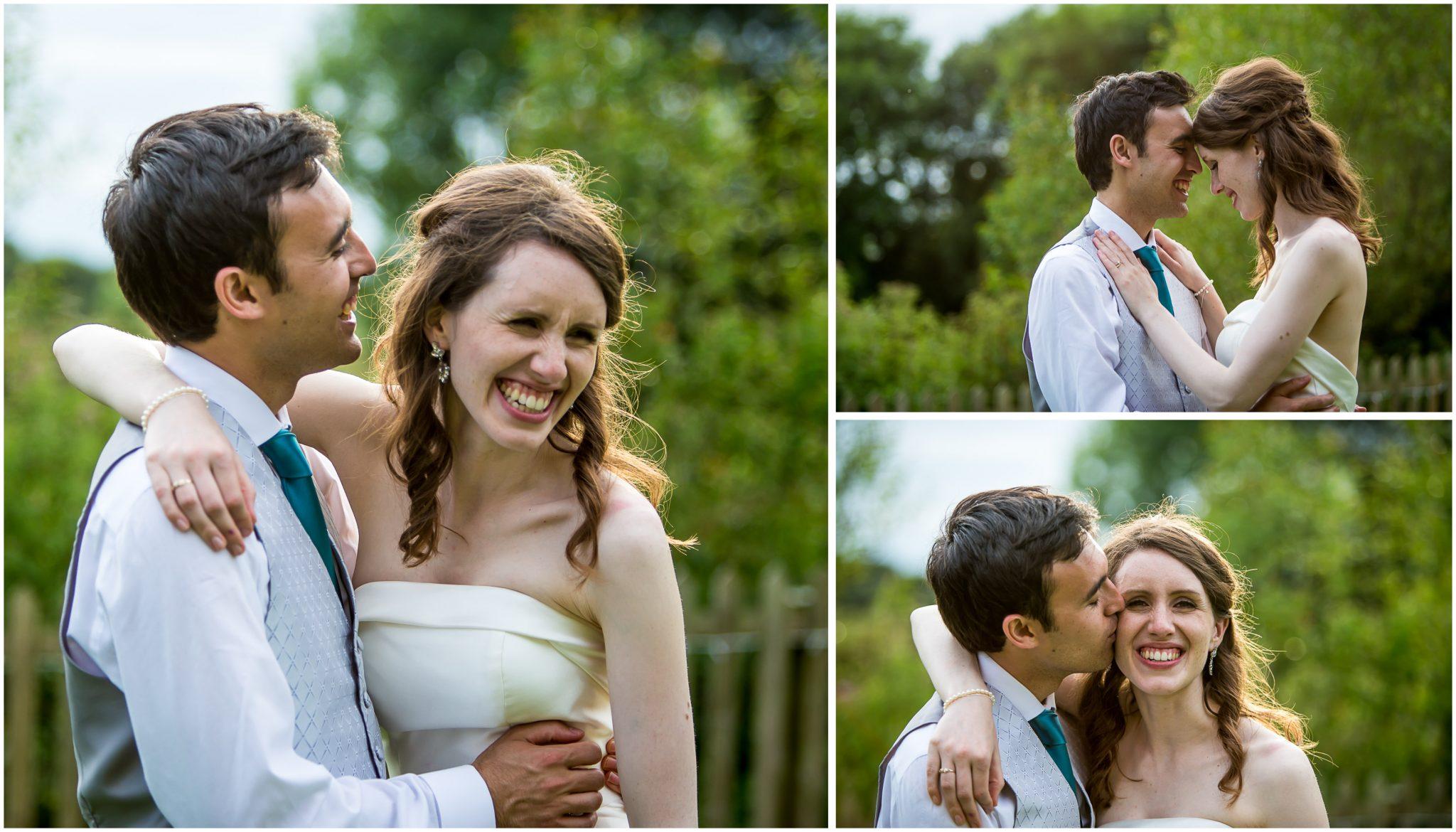 Sopley Mill Summer wedding couple headshots laughing
