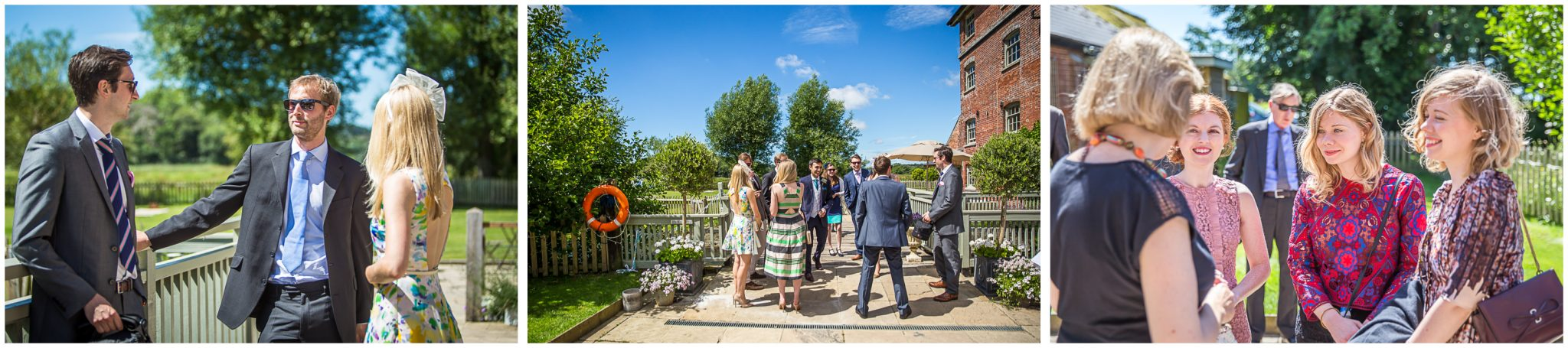 Sopley Mill Summer wedding guests arriving in sunshine