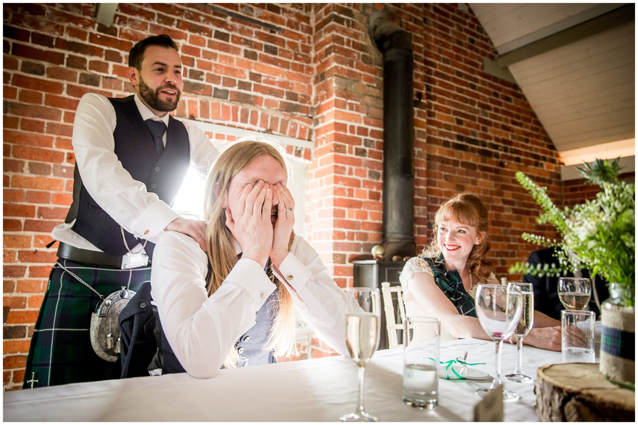 Groom reaction to best man's speech