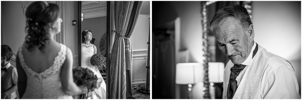 Bride and father in bridal suite before ceremony