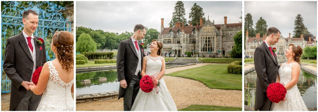 Couple portraits with views of hotel and grounds