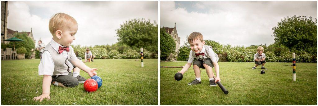 Children playing croquet on the lawn garden games