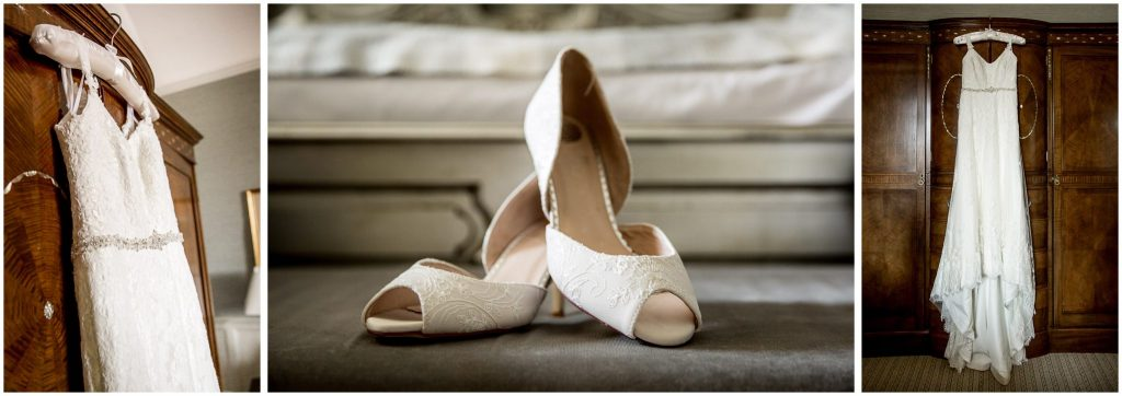 Bride dress and shoe details