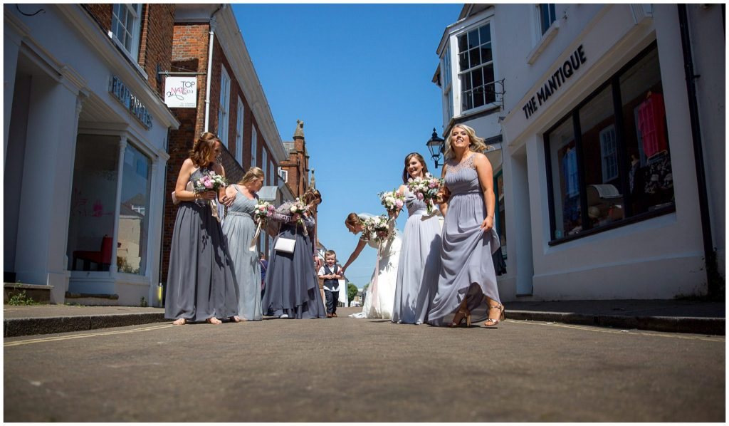 Bride with bridesmaids on Parchment Street Winchester