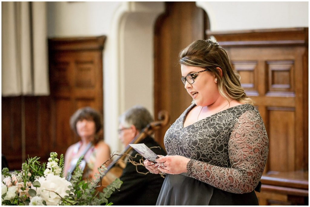 Bridesmaid gives a reading in the King James Suite