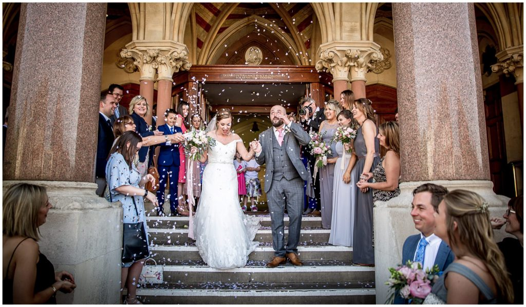 Confetti for newly married couple on Winchester Guildhall steps