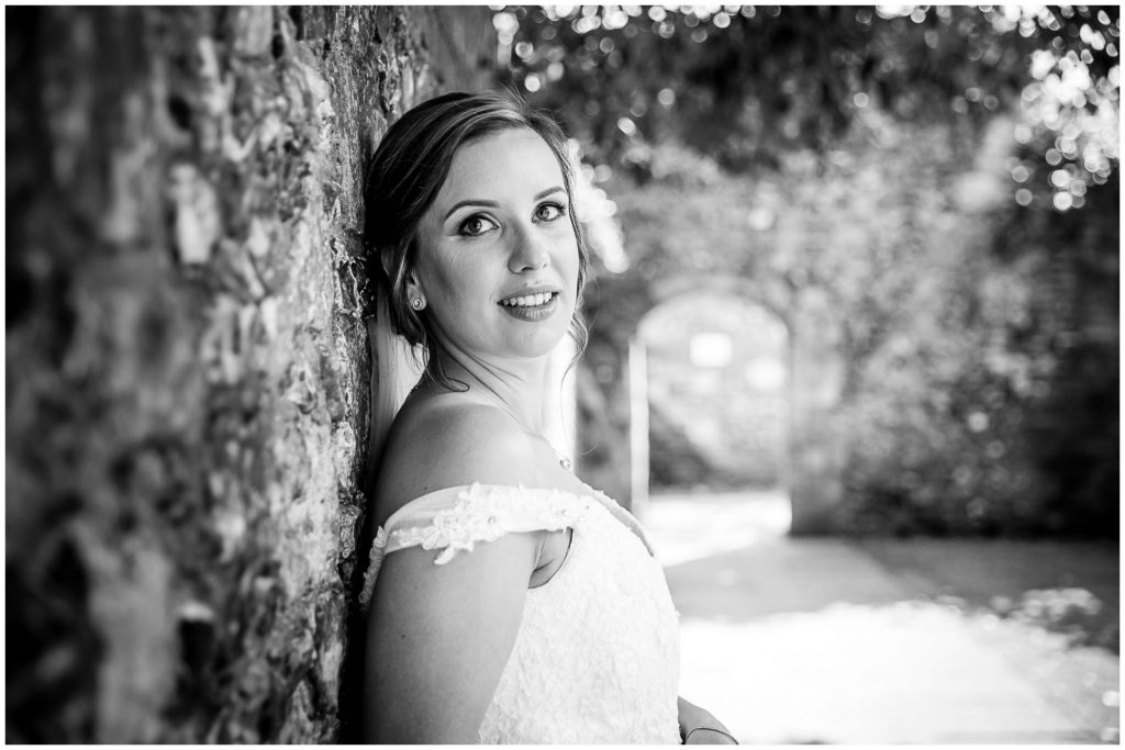 Bride black and white outdoor portrait