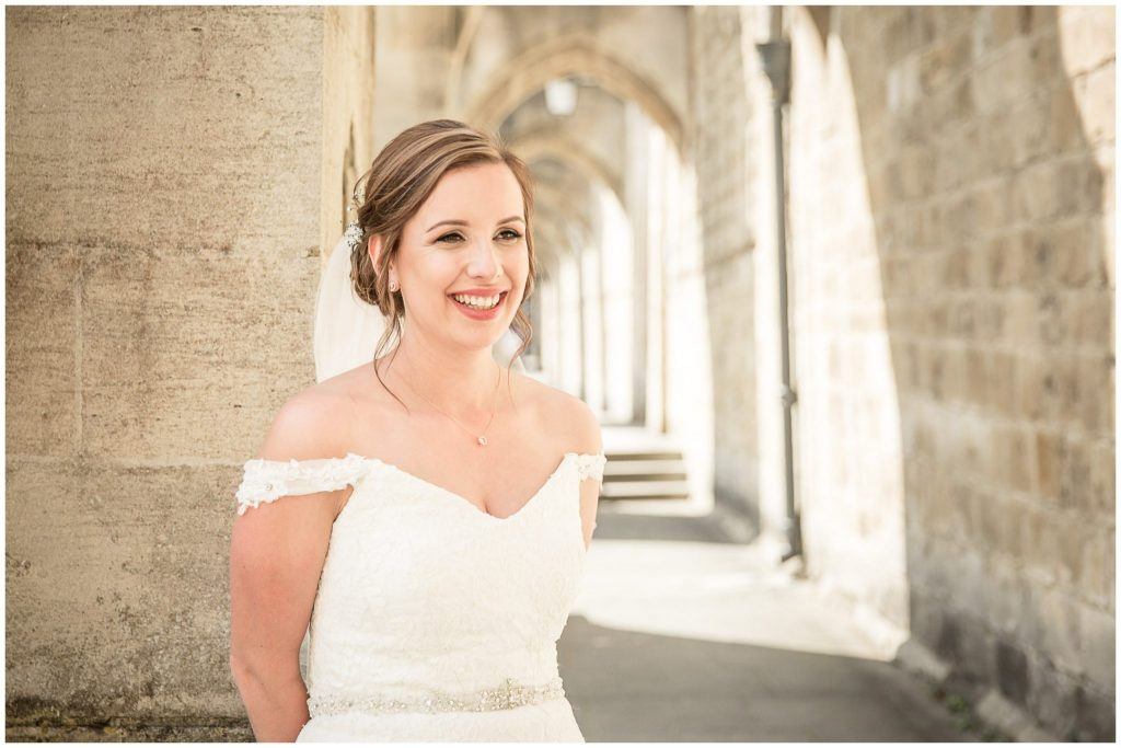 Bride in Cathedral cloisters