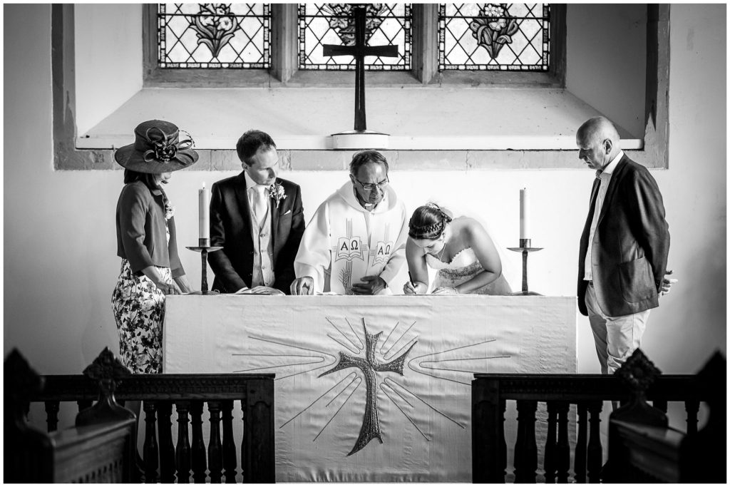 Signing of the register black and white