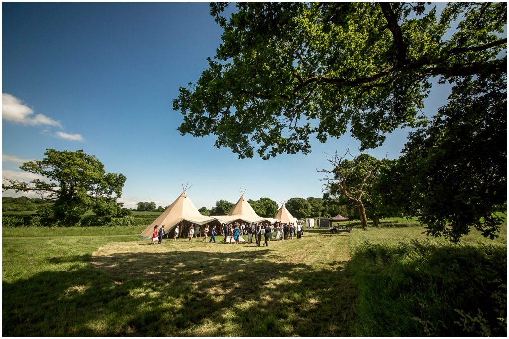 Wedding reception marquee in a field in the Hampshire countryside