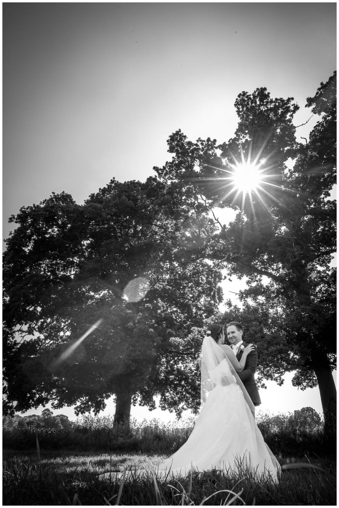 Black and white couple portrait with sunburst through leaves