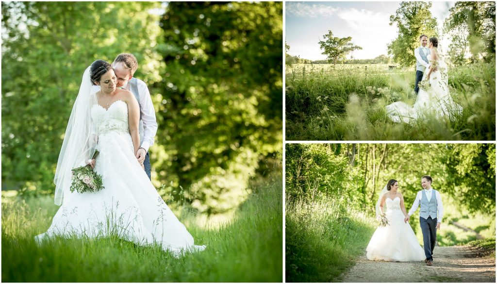 Colour couple portraits in long grasses with trees in background
