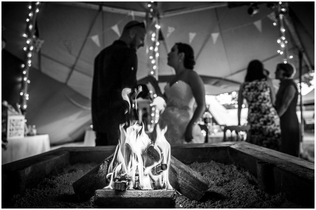 Black and white photo of the indoor firepit