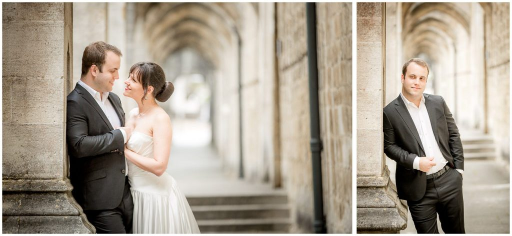 Groom portrait in Winchester Cathedral cloisters