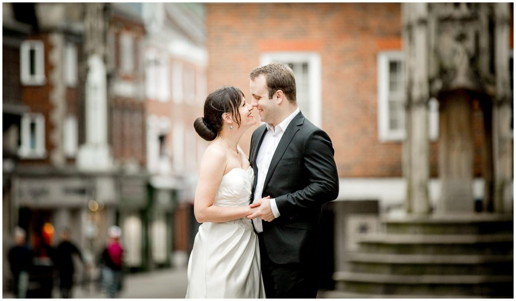 Winchester high street wedding portrait photo