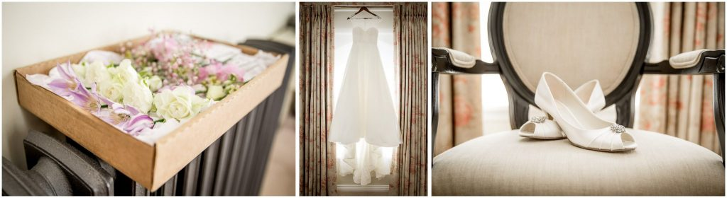 Wedding outfit details with dress, shoes and flowers