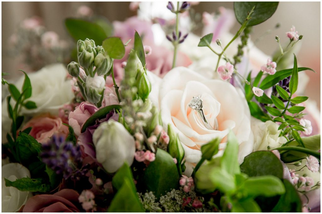 Ring detail in bride's bouquet