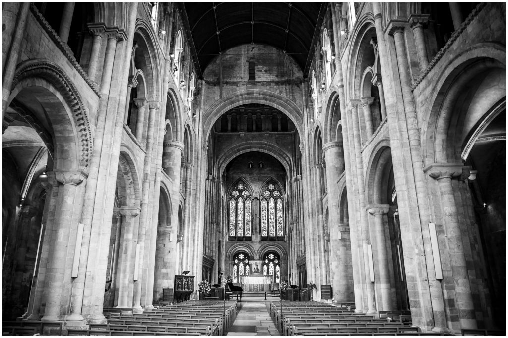 Romsey Abbey church interior black and white