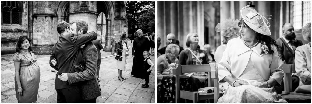 Black and white photos in Romsey Abbey before marriage ceremony