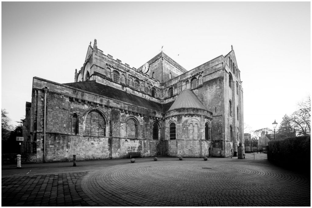 Romsey Abbey church exterior in black and white