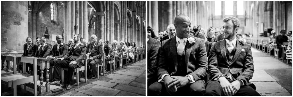 Groom waits at front of church for bride to arrive