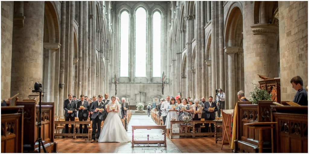 Hymns during marriage service at Romsey Abbey
