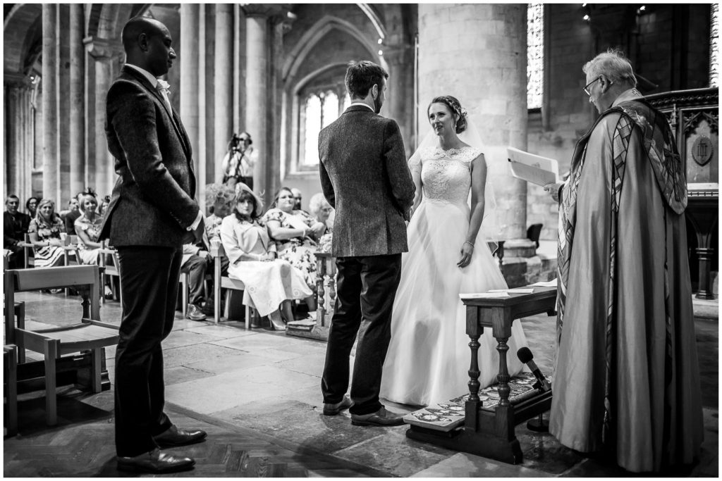 The couple make their vows at Romsey Abbey