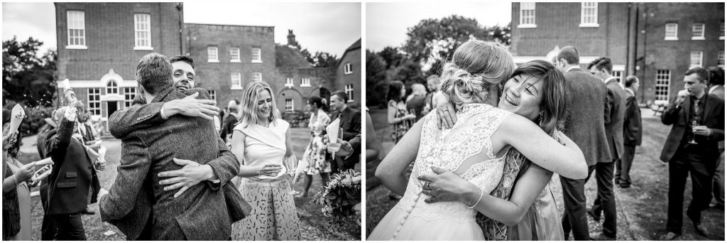 Black and white candid photos of guests congratulating the couple