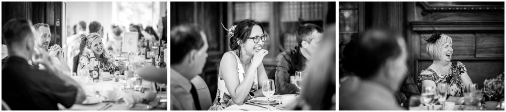 Black and white candid photos of guests laughing at speeches