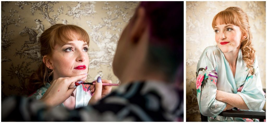 Bridal portraiture getting ready before marriage ceremony