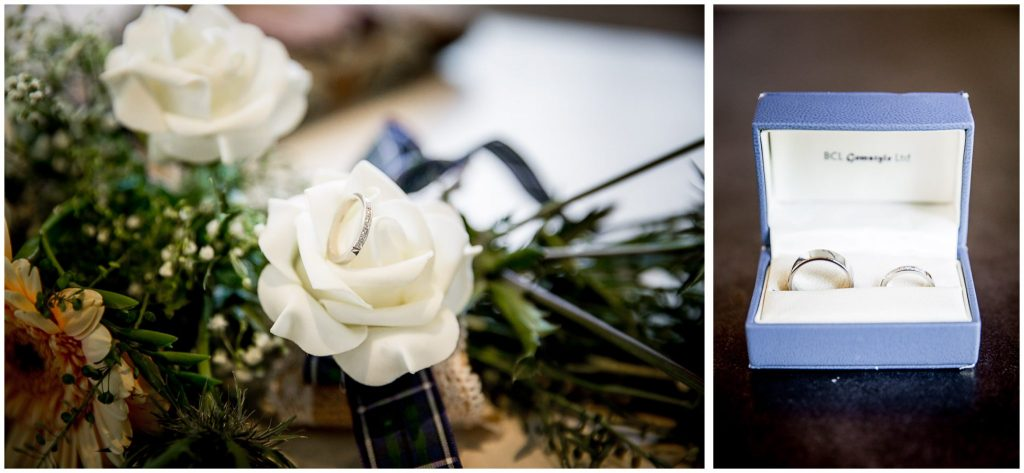 Wedding ring details before ceremony