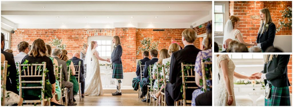 Bride and groom face each other and hold hands to make their vows