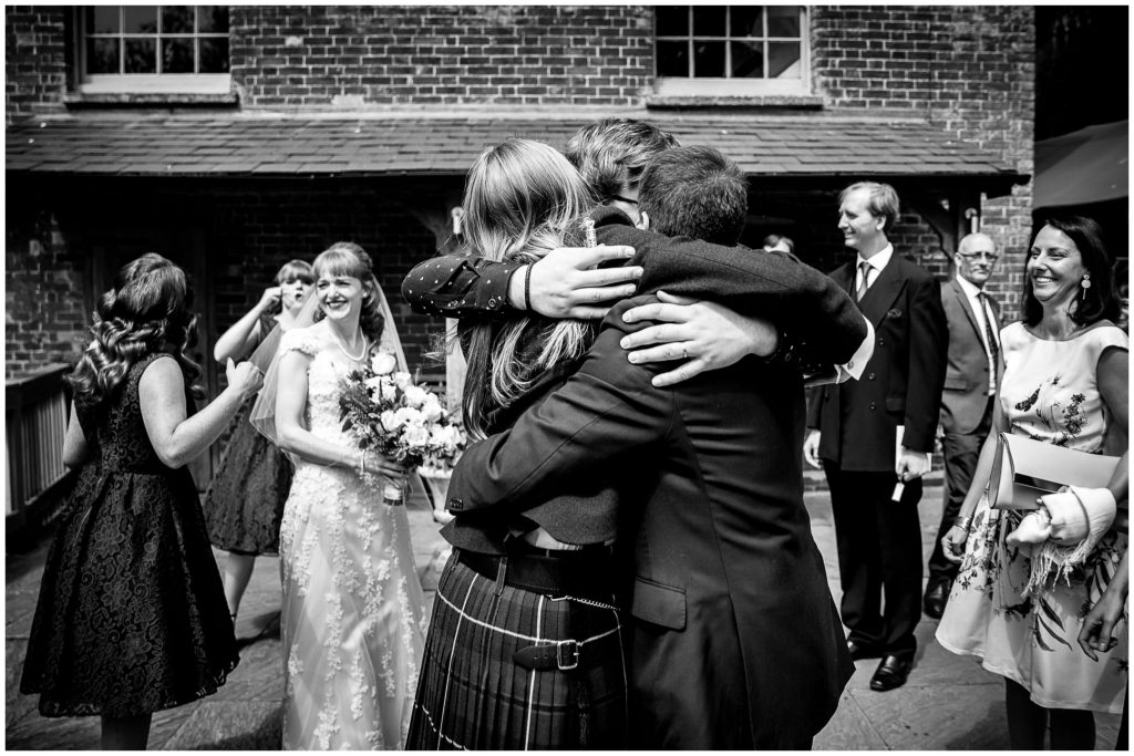 Hugs all round after the marriage ceremony